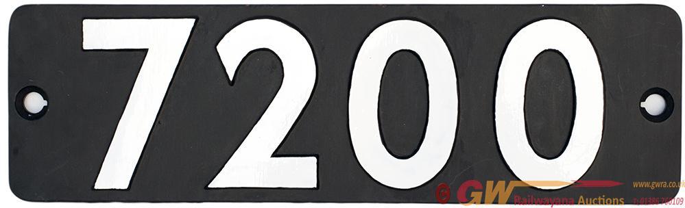 Smokebox Numberplate 7200 Ex GWR Churchward 2-8-0