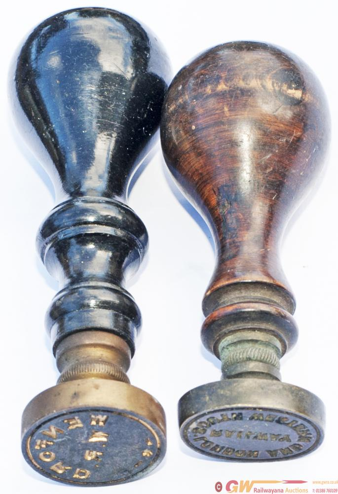 A Pair Of Wooden Handled And Brass Sealing Wax