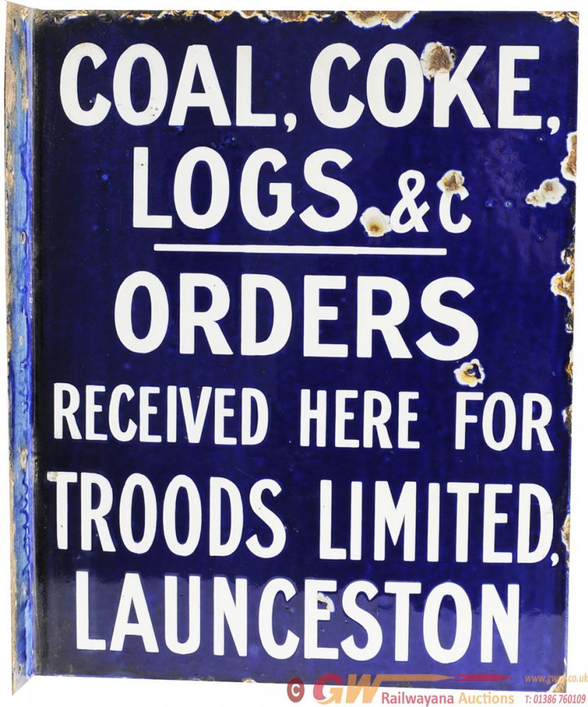 Advertising Enamel Sign 'Coal, Coke, Logs &C -
