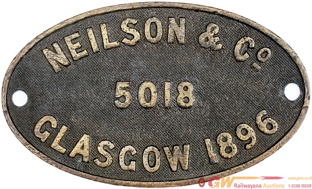 Worksplate NEILSON & CO GLASGOW 5018 1896 Ex GNR