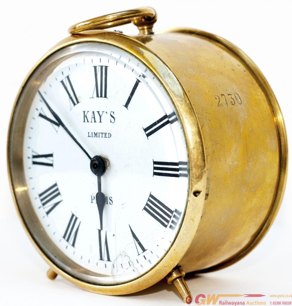GWR Brass Drum Clock With Original Enamel Dial