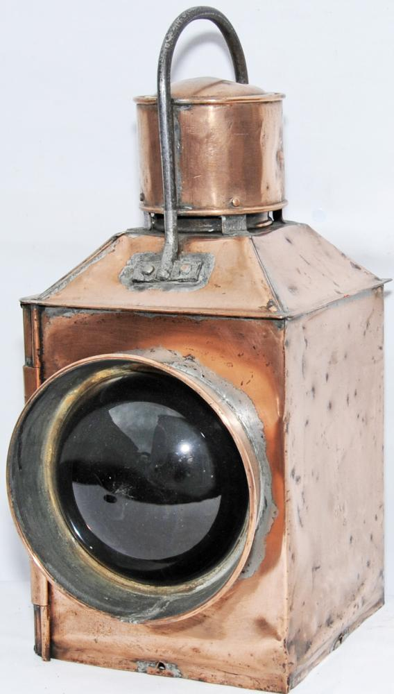 Early, All Copper Locomotive Lamp Standing 19 Tall