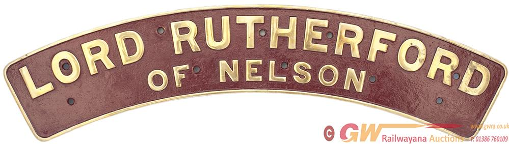 Nameplate LORD RUTHERFORD OF NELSON Ex Stanier