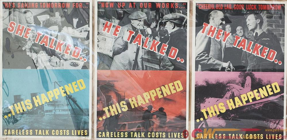 Posters x3 ww2 To Include: HE TALKED SHE TALKED