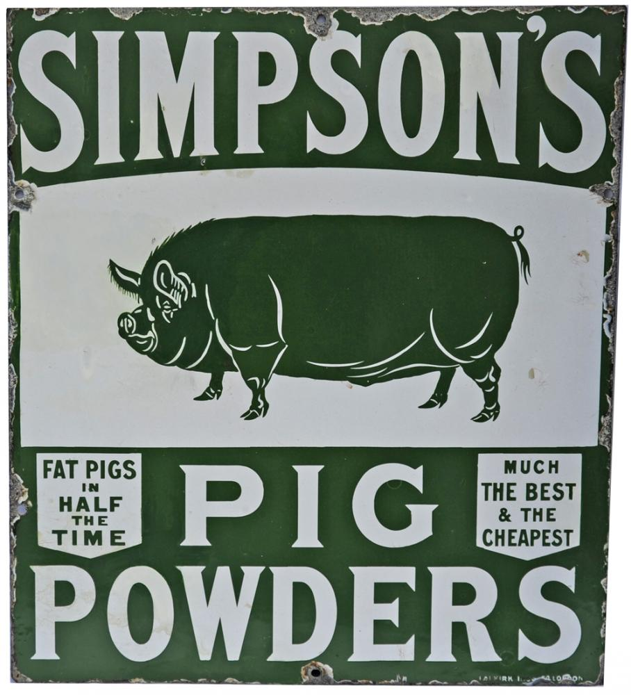 Enamel Pictorial Sign Simpson Pig Powders Produced