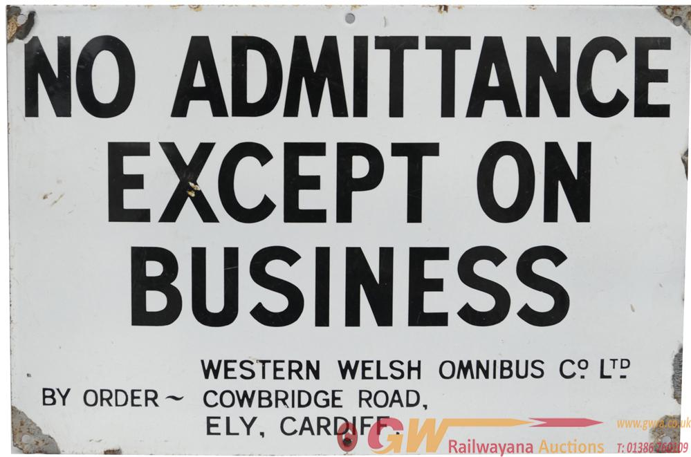 Western Welsh Enamel Sign  'No Admittance Except