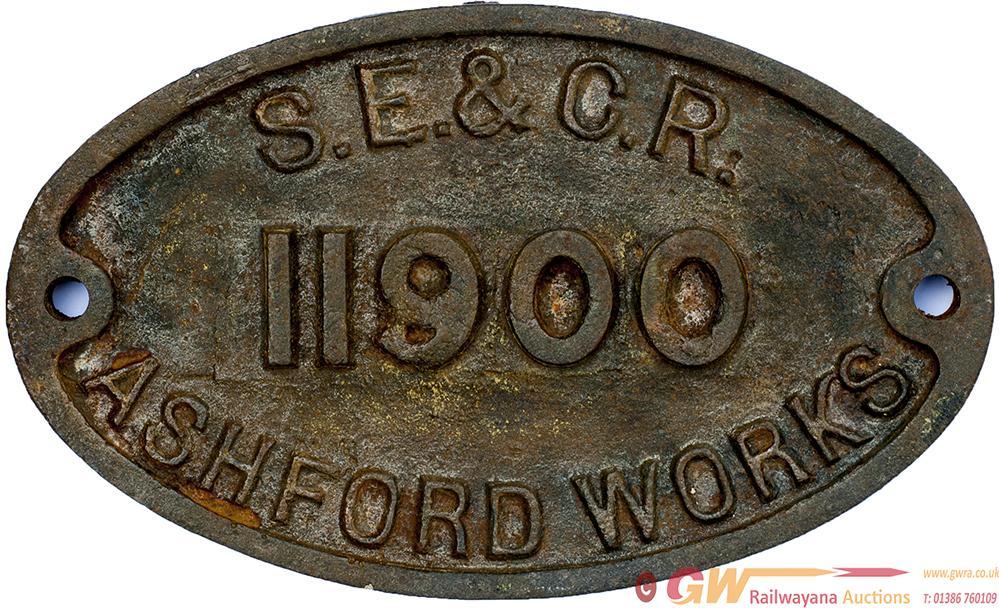 SECR Cast Iron Wagon Plate S.E.& C.R. ASHFORD