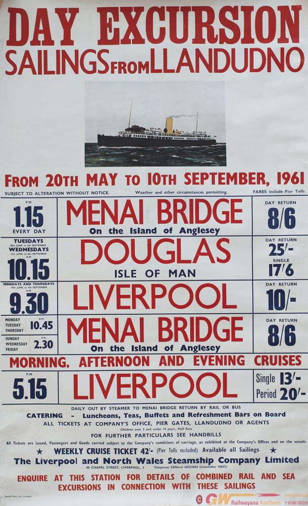 Poster LIVERPOOL AND NORTH WALES STEAMSHIP COMPANY