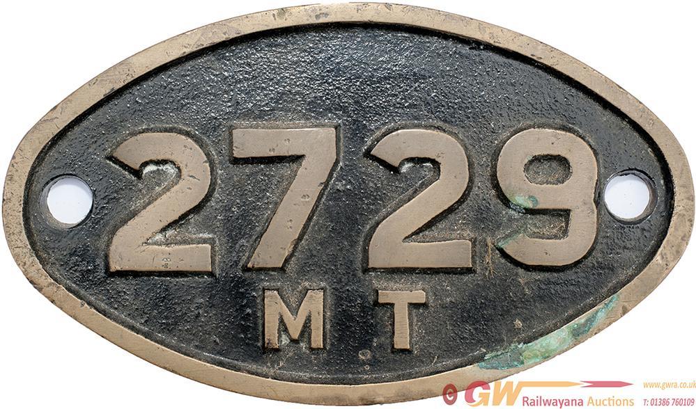 SAR Oval Brass Tenderplate 2727 MT Ex MT Type