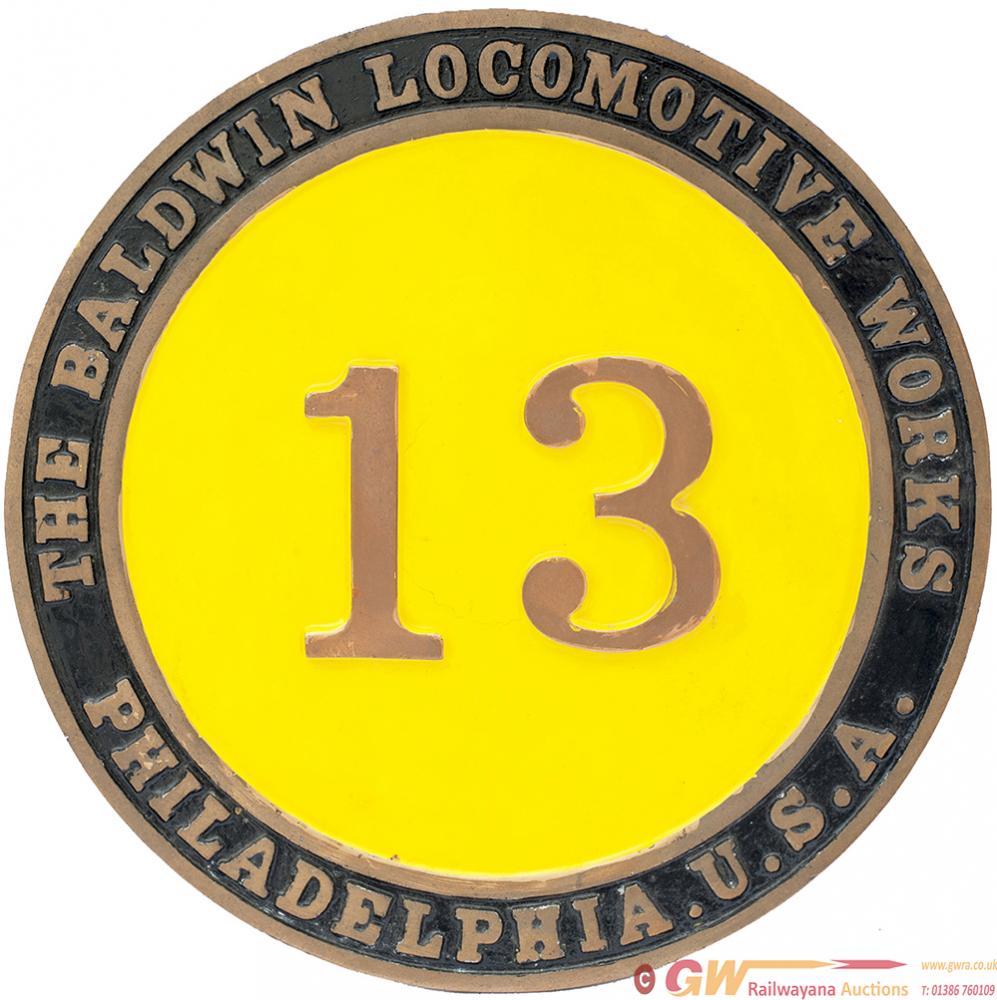 Numberplate Circular Brass BALDWIN LOCO WORKS NO