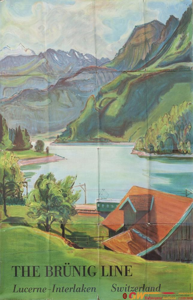 Poster Swiss Federal Railways THE BRUNIG LINE