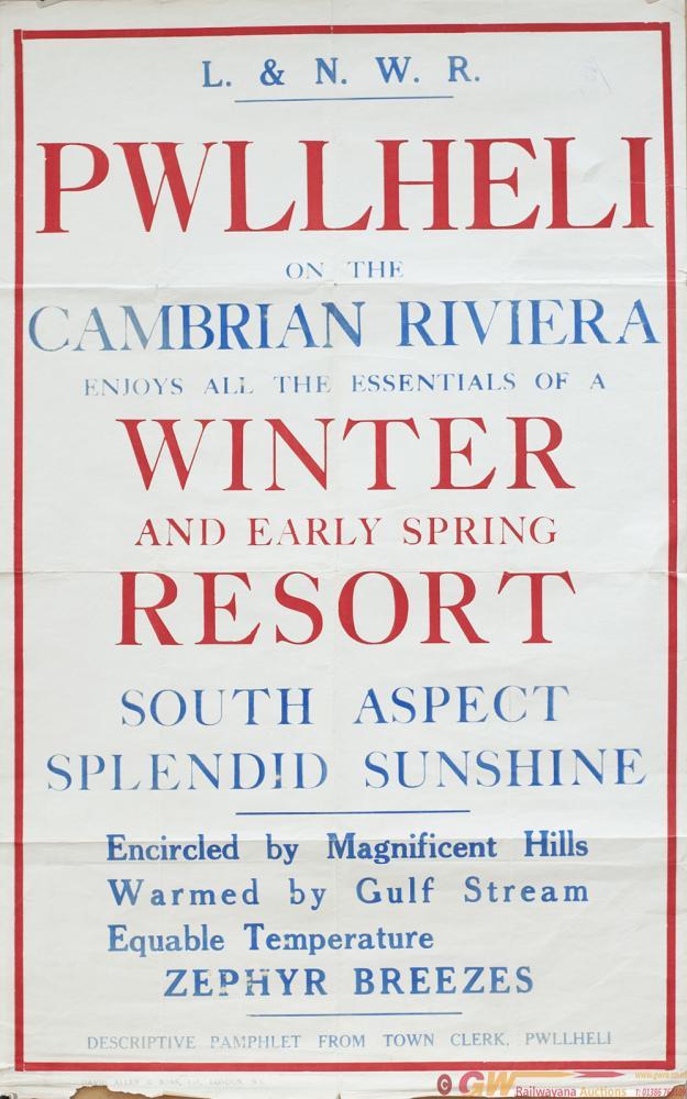 Poster LNWR PWLLHELI ON THE CAMBRIAN RIVIERA