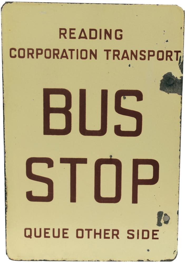 Enamel Bus Sign Reading Corporation Transport Bus