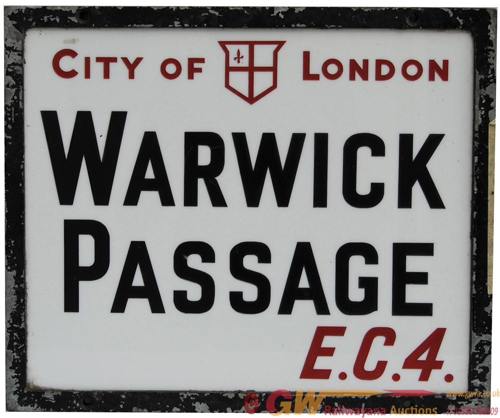 An Engraved Opal-Glass Street Name Tablet 'CITY OF