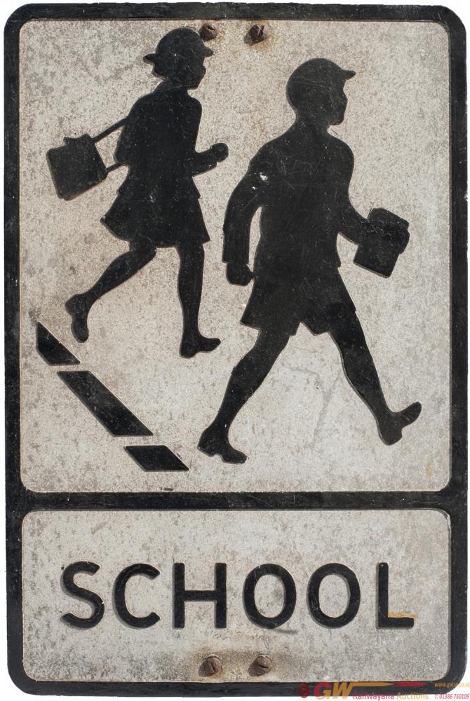 Motoring Road Sign Pressed Aluminium SCHOOL