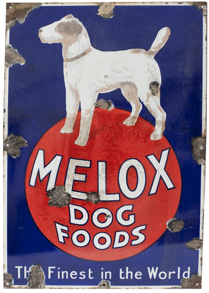 Advertising Enamel Sign MELOX DOG FOODS THE FINEST