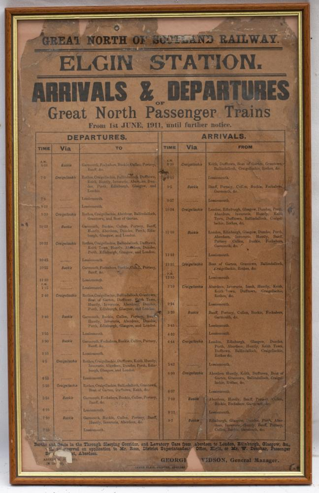 Great North Of Scotland Timetable Poster Dated