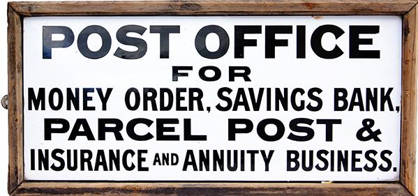 Enamel Advertising Sign 'Post Office For Money