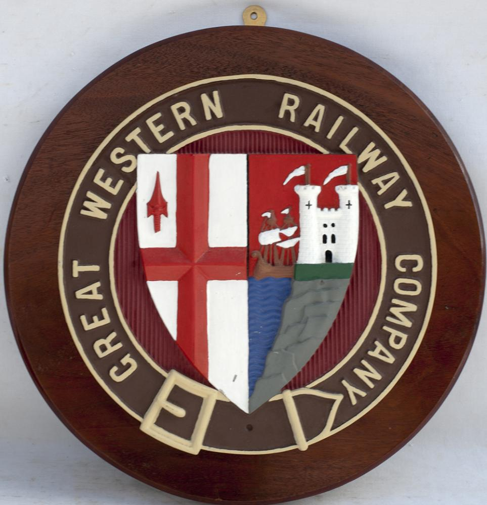 REPRODUCTION GWR Crest Mounted Onto Mahogany And