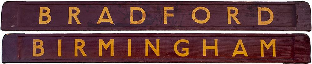 BR Wooden Carriage Board BIRMINGHAM - BRADFORD.