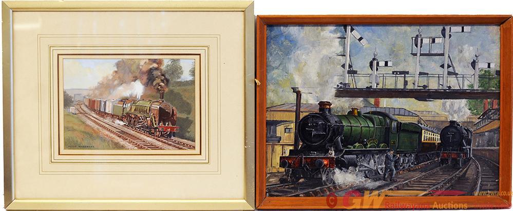 Original Oil/Gouache Paintings On Board, A Pair :-