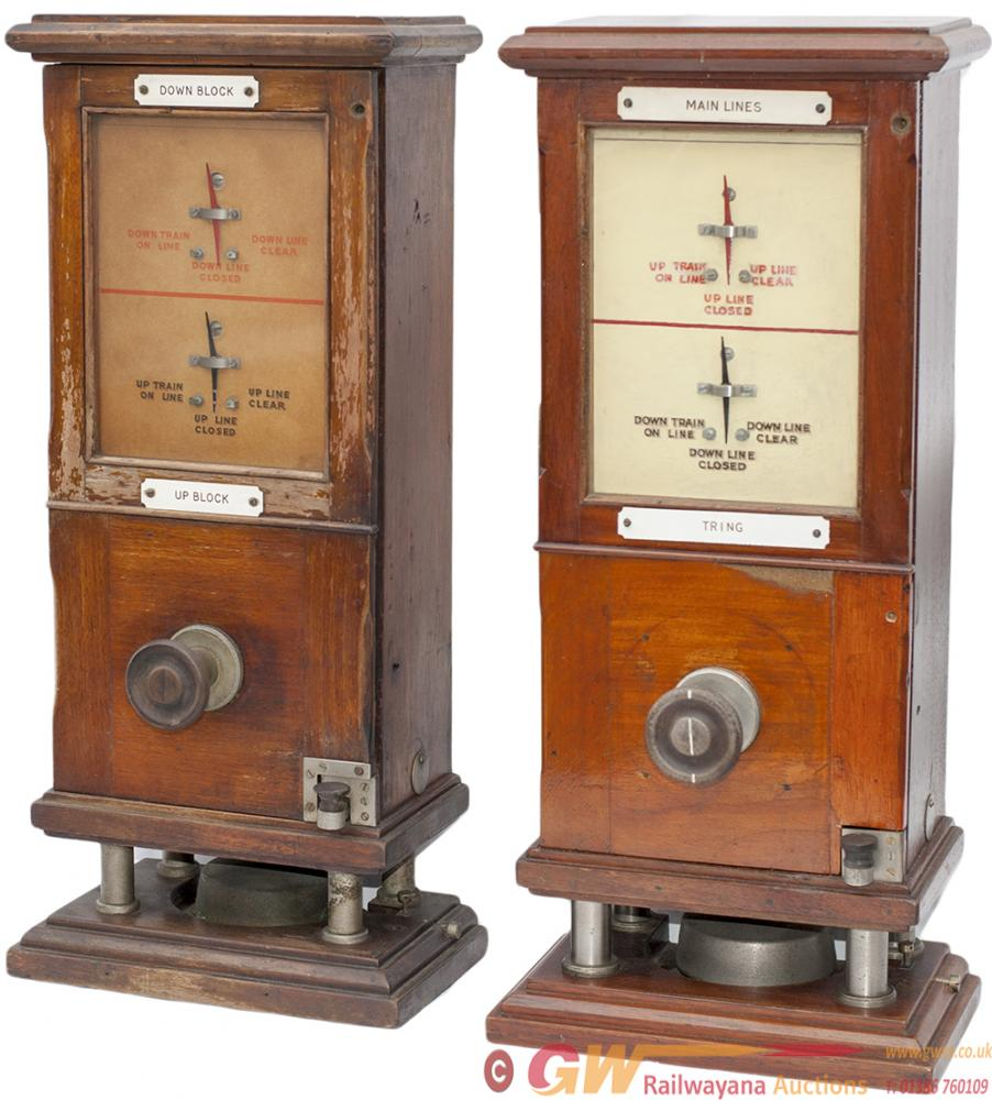 A Pair Of LNWR Mahogany Cased Absolute Block