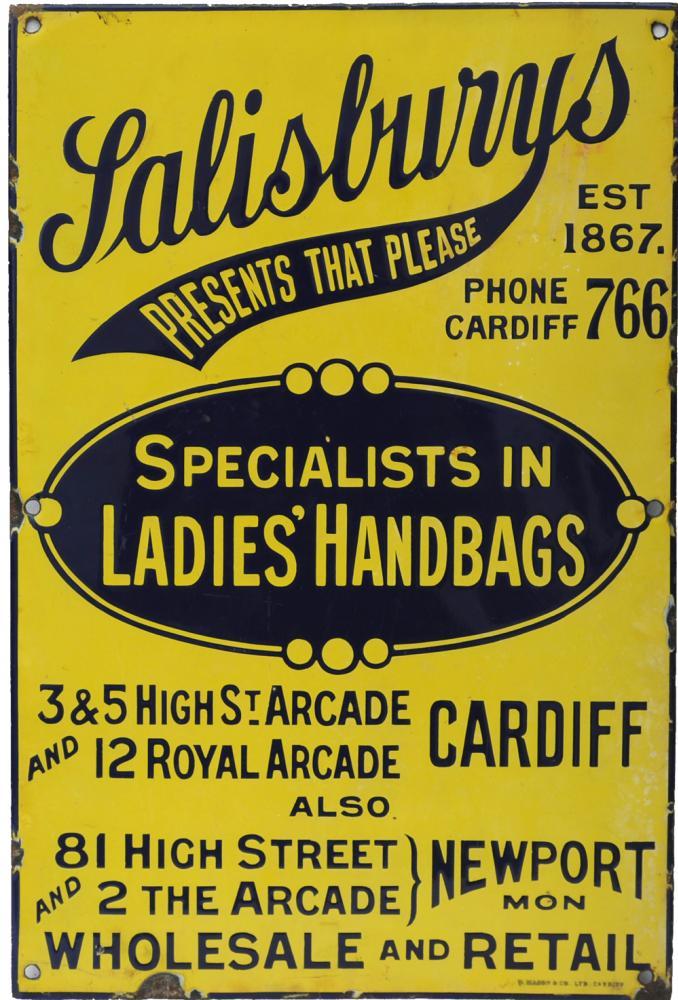 Enamel Advertising Sign, 'Salisbury's Presents