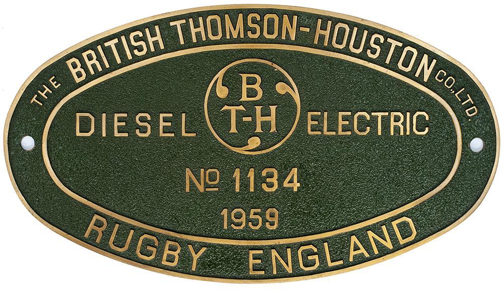 Worksplate THE BRITISH THOMSON HOUSTON CO LTD