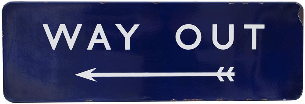 BR(E) FF Enamel Railway Sign WAY OUT With Left