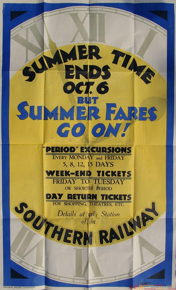 Southern Railway D/R Poster Summer Time Ends