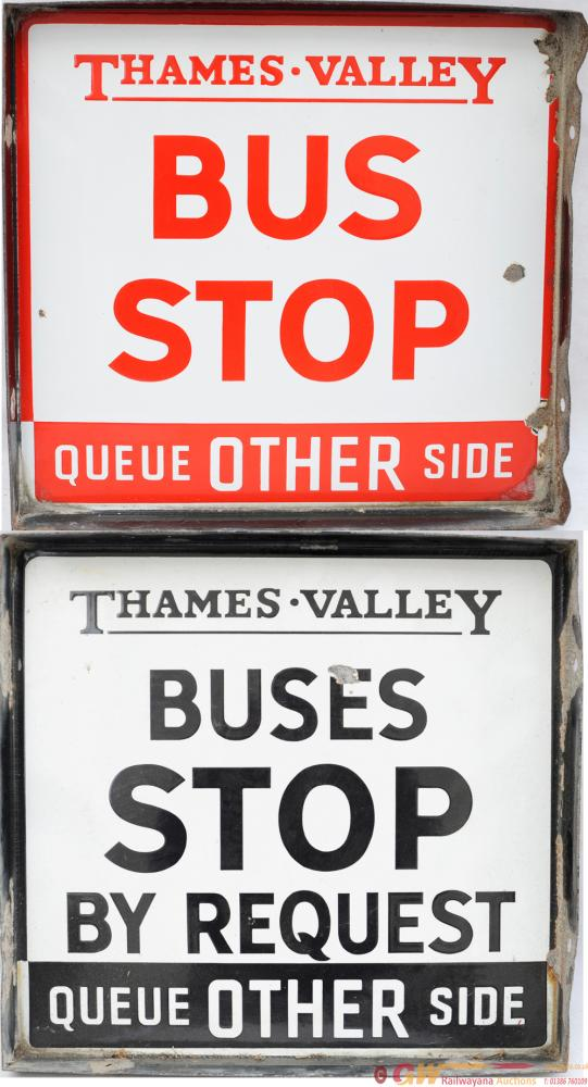 Bus Stop Signs, Qty 2 Comprising:- 'Thames Valley