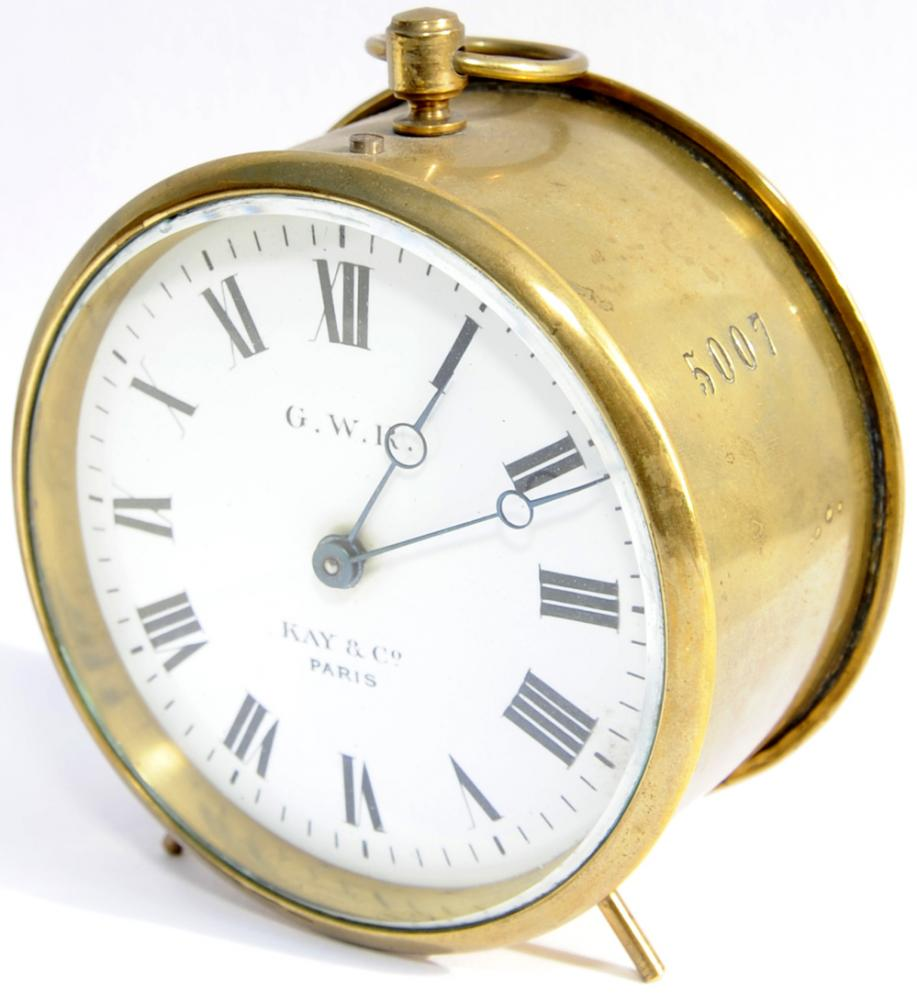 GWR Brass Drum Clock Numbered 5007 On The Case And
