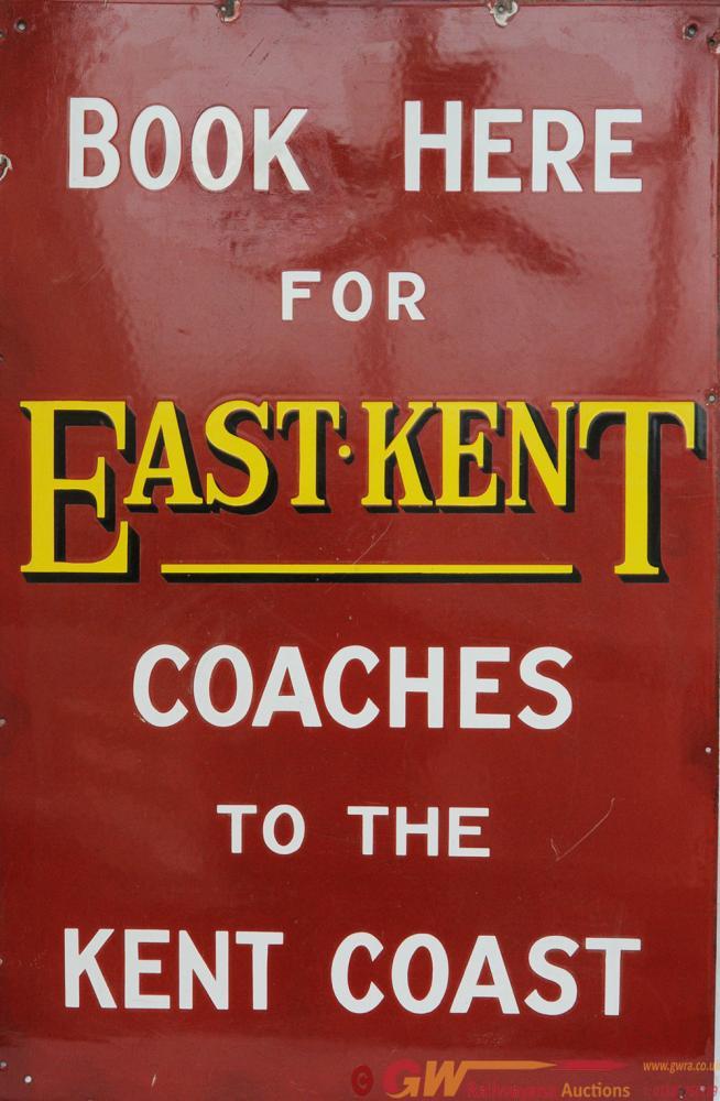 Advertising Enamel Sign ' Book Here For East Kent