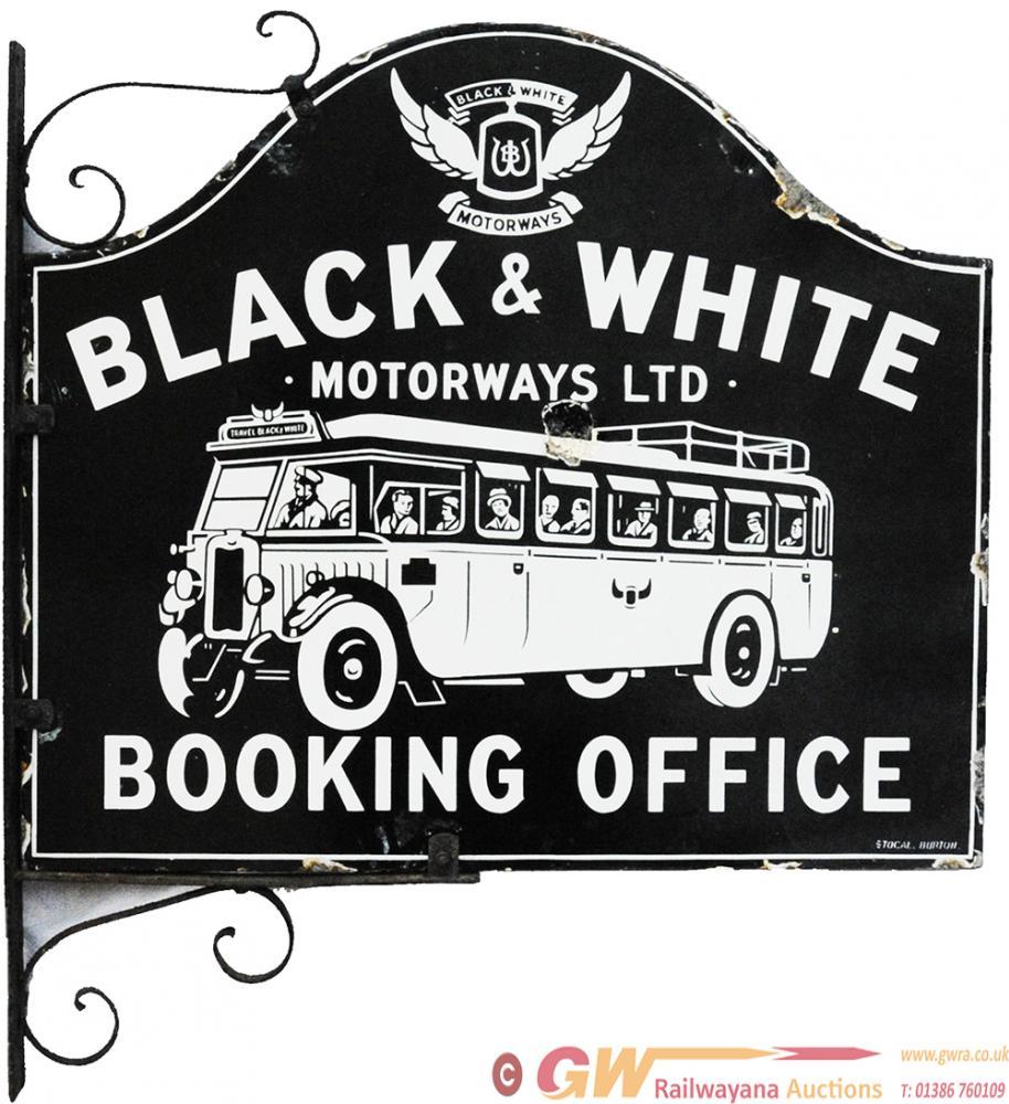 Advertising Enamel Sign ' Black & White Motorways
