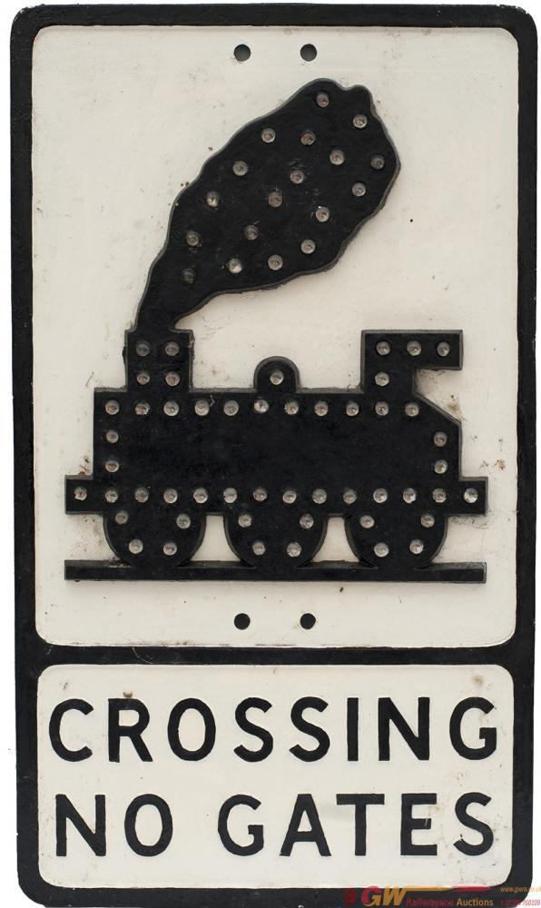 Road Sign Cast Aluminium CROSSING NO GATES