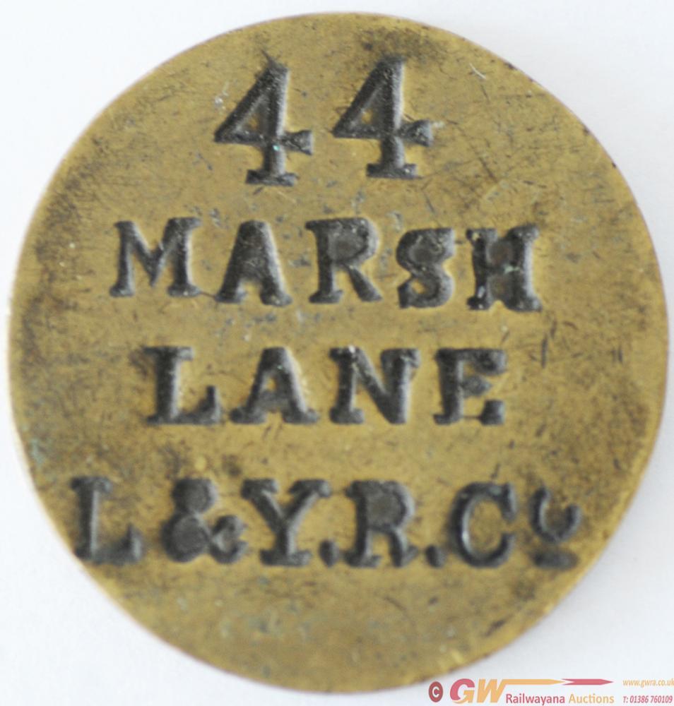 LYR Brass Paycheck, Stamped 44 MARSH LANE
