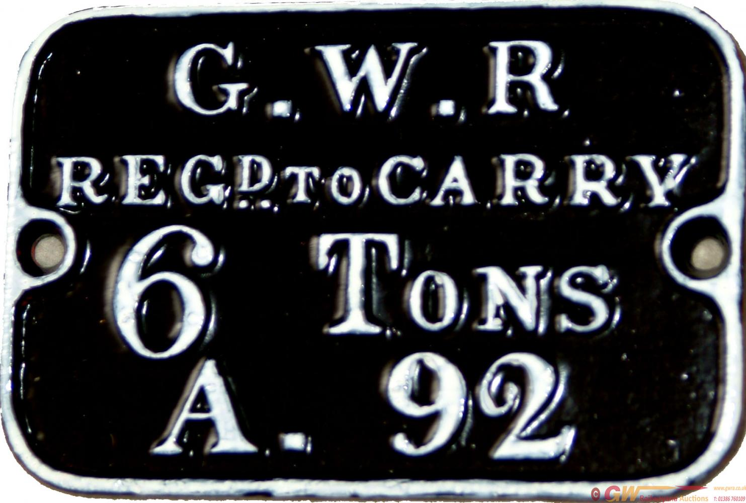 GWR C/I Pre-Grouping Match Truck Plate, Reads