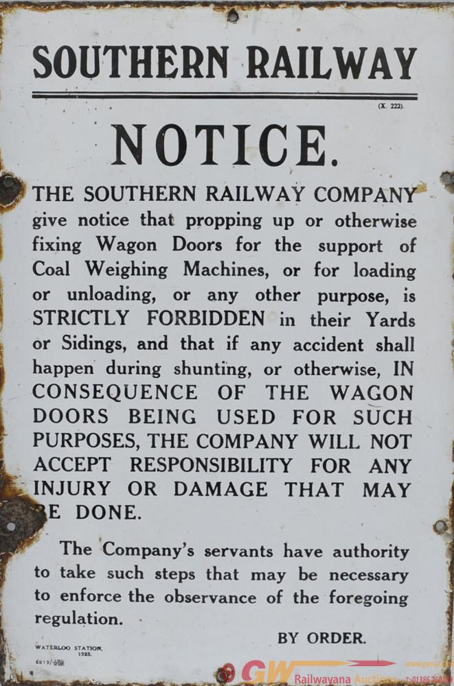Southern Railway Enamel Notice PROPPING UP WAGON