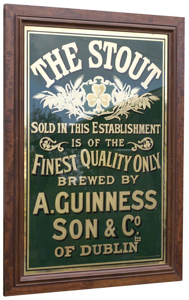 <P>Advertising Glass Pub Sign THE STOUT SOLD IN