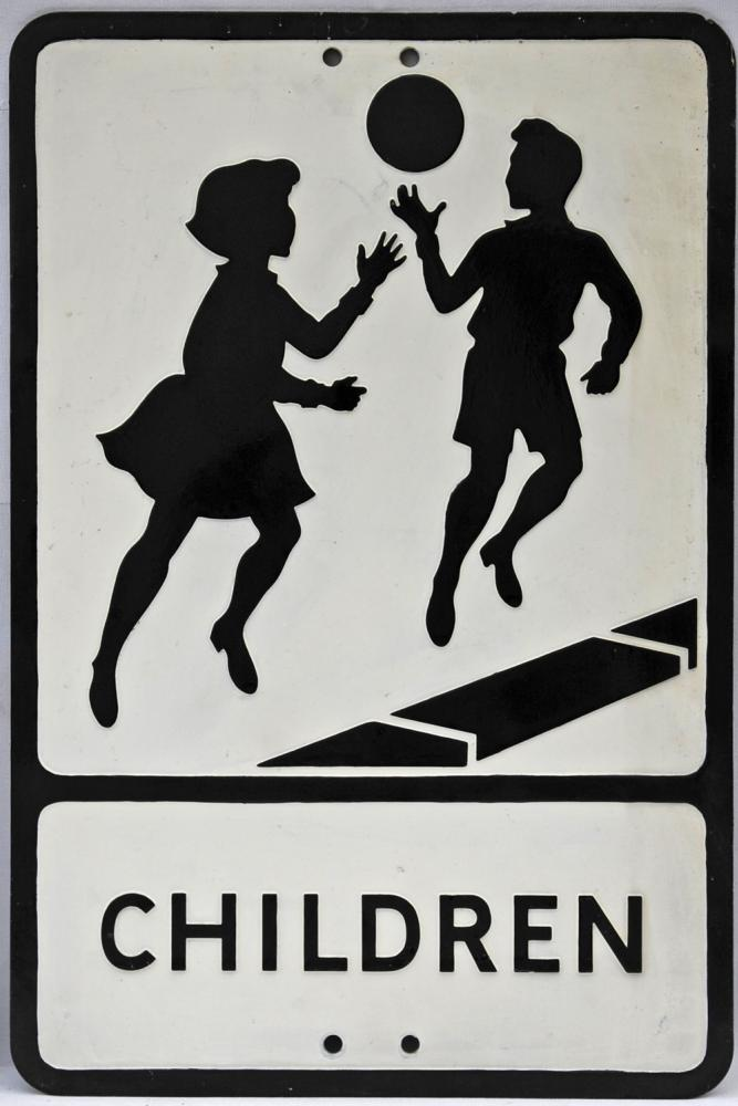 Pressed Alloy Road Sign 'Children', Depicting The