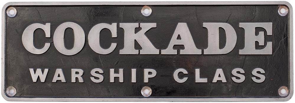 Nameplate COCKADE Ex BR Diesel Hydraulic Warship