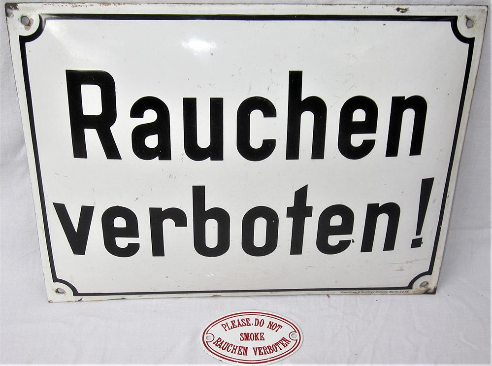 2 X Enamel Signs From Germany. RAUCHEN VERBOTEN !