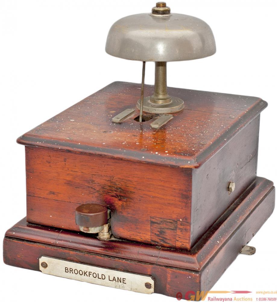 Midland Railway Mahogany Cased Block Bell With