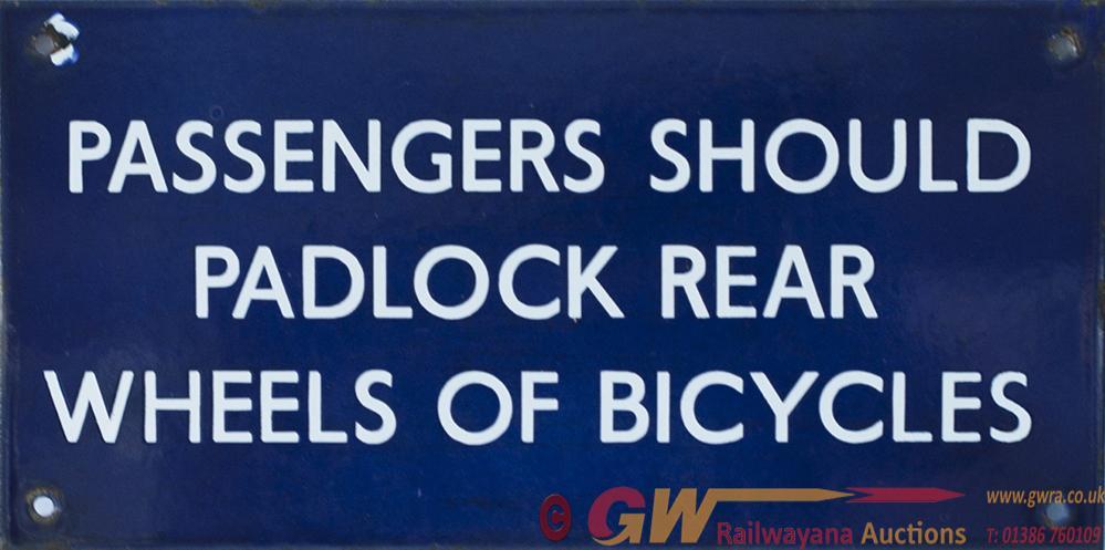 LNER Enamel Sign PASSENGERS SHOULD PADLOCK REAR
