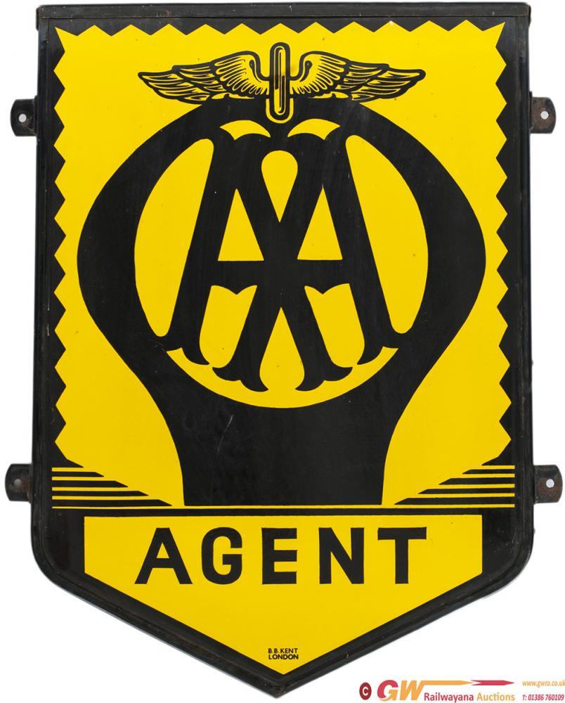 Motoring Enamel Sign AA AGENT Measuring 31in X