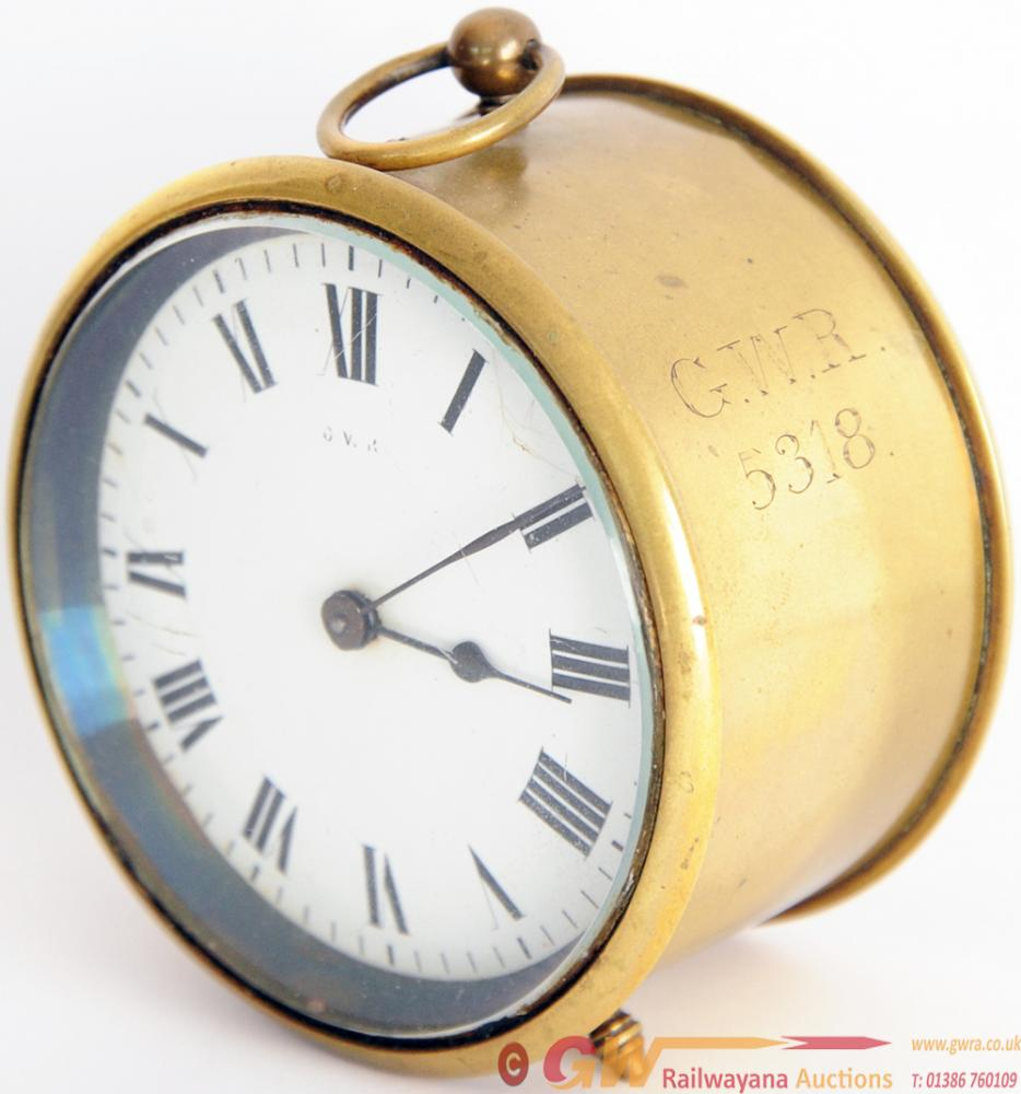 GWR Brass Cased Drum Clock With Hand Engraved 'GWR