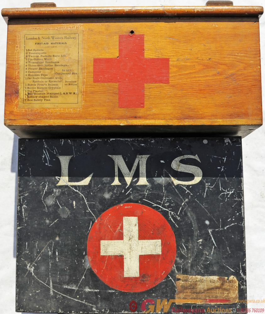 L&NWR Wood Cased First Aid Box Together With An