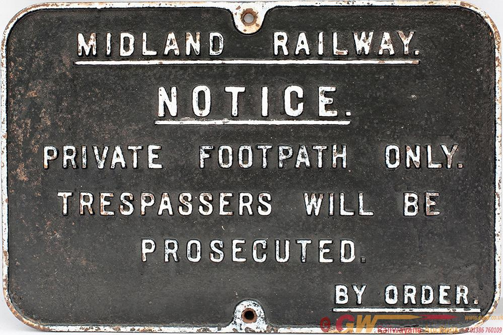 Midland Railway Cast Iron Sign Re PRIVATE FOOTPATH