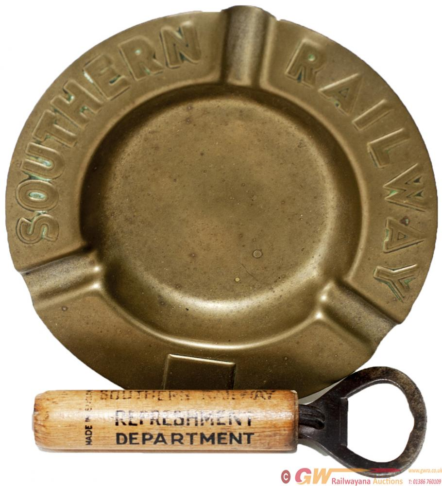 Southern Railway Brass Ashtray Embossed With Full