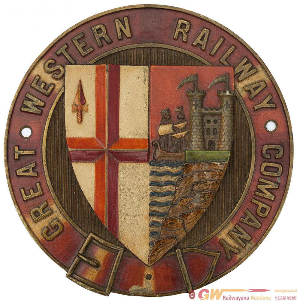 GWR 19th Century Locomotive Brass Splasher Coat Of
